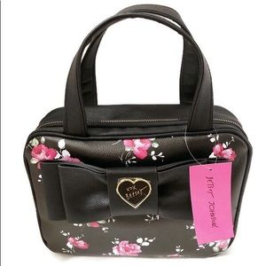 Betsey Johnson Black/Floral Cosmetic Case